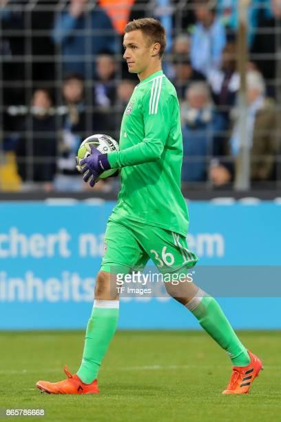 goalkeeper Christian Fruechtl of Bayern Muenchen controls the ball during the match between TSV 1860 Muenchen and Bayern Muenchen II at Stadion an...
