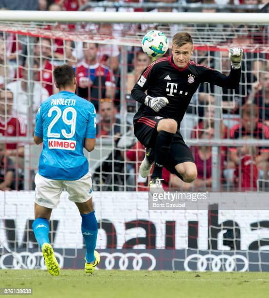 Goalkeeper Christian Fruechtl of FC Bayern Muenchen saves the ball with a header during the Audi Cup 2017 match between SSC Napoli and FC Bayern...