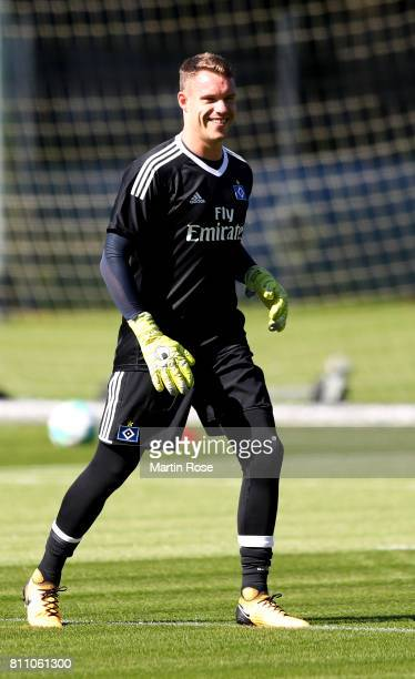 Goalkeeper Christian Mathenia looks on during a training session of Hamburger SV at Volksparkstadion on July 9 2017 in Hamburg Germany