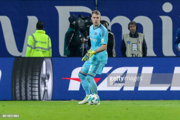 Goalkeeper Christian Mathenia of Hamburg controls the ball during the Bundesliga match between Hamburger SV and Borussia Dortmund at Volksparkstadion...