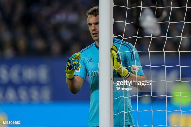 Goalkeeper Christian Mathenia of Hamburg gestures during the Bundesliga match between Hamburger SV and Borussia Dortmund at Volksparkstadion on...