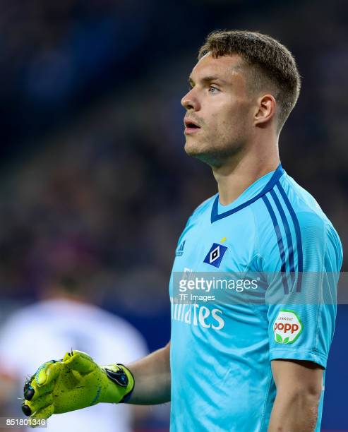 Goalkeeper Christian Mathenia of Hamburg looks on during the Bundesliga match between Hamburger SV and Borussia Dortmund at Volksparkstadion on...