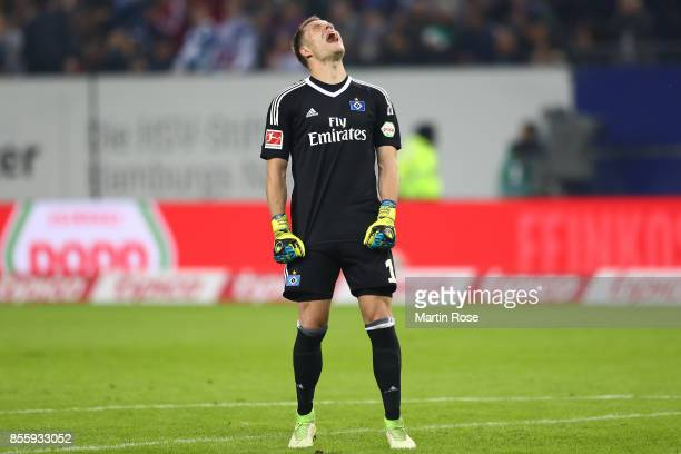 Goalkeeper Christian Mathenia of Hamburg reacts during the Bundesliga match between Hamburger SV and SV Werder Bremen at Volksparkstadion on...