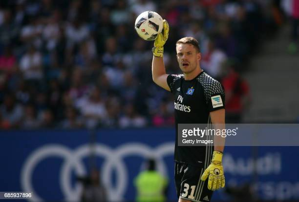 Goalkeeper Christian Mathenia of HSV looks on during the Bundesliga match between Hamburger SV and VfL Wolfsburg at Volksparkstadion on May 20 2017...