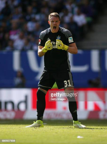 Goalkeeper Christian Mathenia of HSV reacts during the Bundesliga match between Hamburger SV and VfL Wolfsburg at Volksparkstadion on May 20 2017 in...
