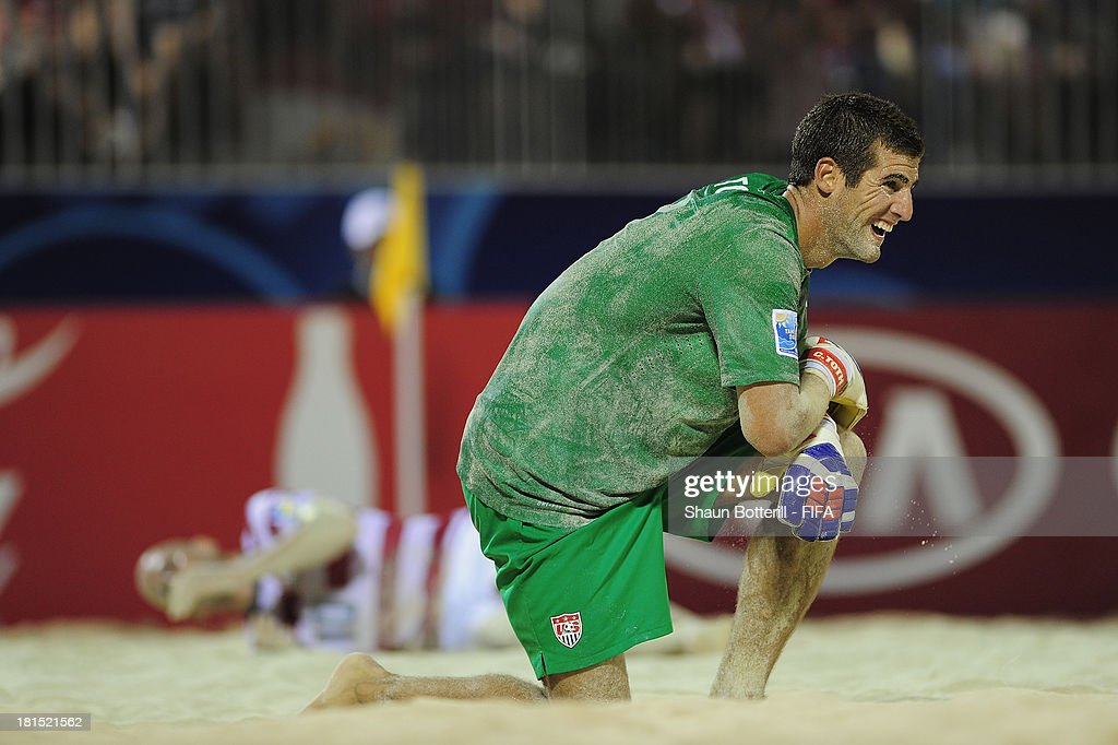 USA goalkeeper Christopher Toth looks dejected during the FIFA Beach Soccer World Cup Tahiti 2013 Group A match between USA and Tahiti at the Tahua To'ata stadium on September 21, 2013 in Papeete, French Polynesia.