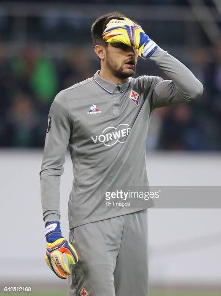 Goalkeeper Ciprian Tatarusanu of Fiorentina gestures during the UEFA Europa League Round of 32 first leg match between Borussia Moenchengladbach and...