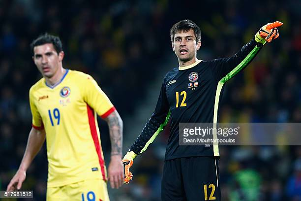 Goalkeeper Ciprian Tatarusanu of Romania gives teammates instructions during the International Friendly match between Romania and Spain held at the...