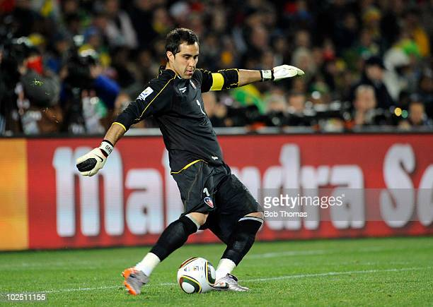 Goalkeeper Claudio Bravo of Chile during the 2010 FIFA World Cup South Africa Round of Sixteen match between Brazil and Chile at Ellis Park Stadium...