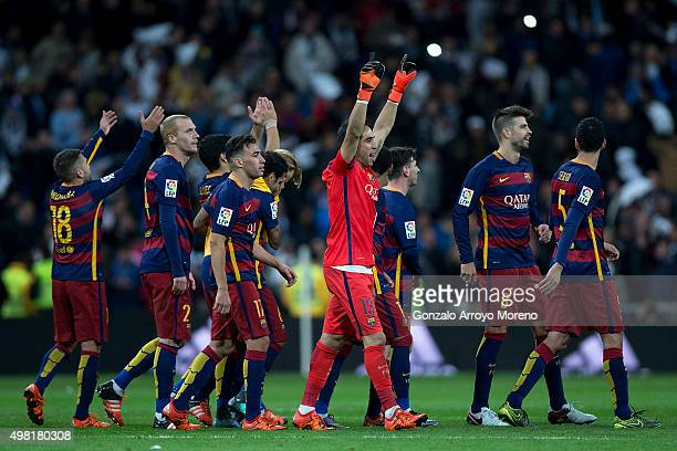 Goalkeeper Claudio Bravo of FC Barcelona celebrates their victory with his teammates after the La Liga match between Real Madrid CF and FC Barcelona...
