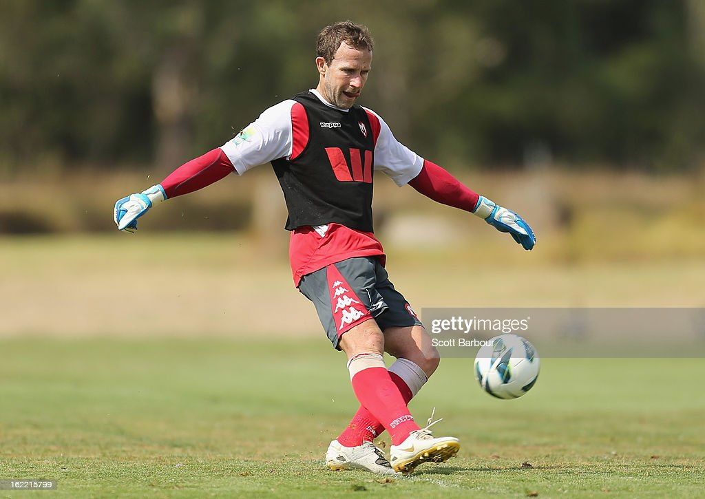 Goalkeeper <a gi-track='captionPersonalityLinkClicked' href=/galleries/search?phrase=Clint+Bolton&family=editorial&specificpeople=227070 ng-click='$event.stopPropagation()'>Clint Bolton</a> of the Heart kicks the ball during a Melbourne Heart A-League training session at La Trobe University Sports Fields on February 21, 2013 in Melbourne, Australia.