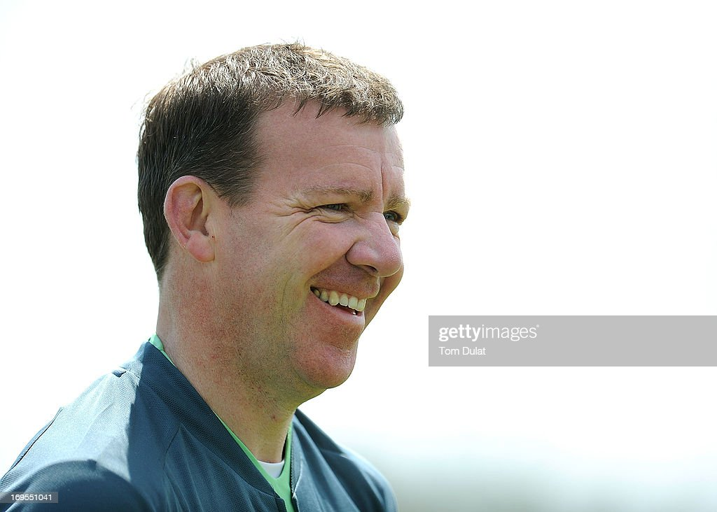 Goalkeeper Coach Allan Kelly smiles during the Ireland training session at Watford FC Training Ground on May 27, 2013 in London Colney, England.
