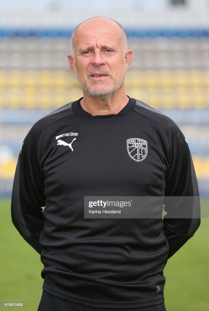 Goalkeeper Coach Bernd Lindrath of Carl Zeiss Jena poses during the team presentation at on July 17, 2017 in Jena, Germany.