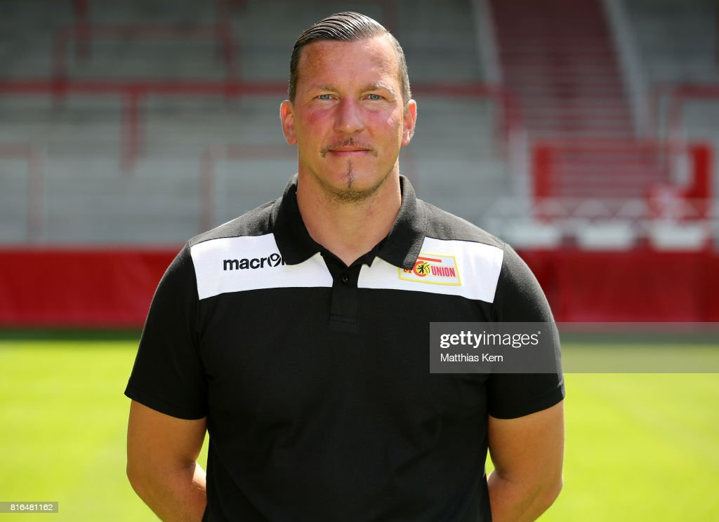 Goalkeeper coach Dennis Rudel of 1. FC Union Berlin poses during the team presentation at Stadion an der Alten Foersterei on July 17, 2017 in Berlin, Germany.