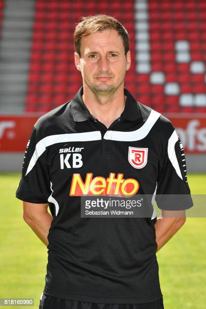 Goalkeeper coach Kristian Barbuscak of Jahn Regensburg poses during the team presentation at Continental Arena on July 18 2017 in Regensburg Germany