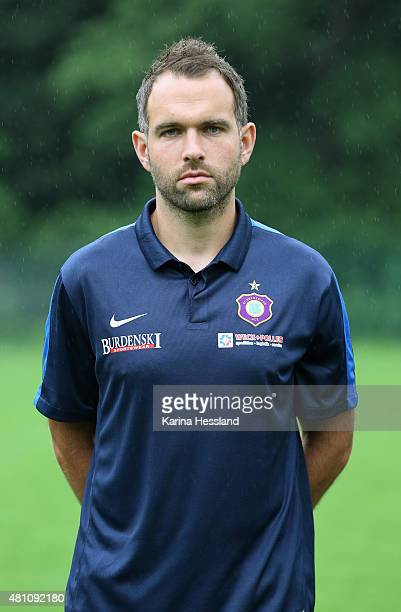 Goalkeeper Coach Max Urwantschky poses during the official team presentation of Erzgebirge Aue at ground 2 on July 14 2015 in Aue Germany