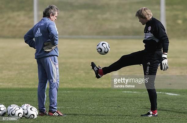 Goalkeeper coach Sepp Meier and Oliver Kahn talk during the Bayern Munich Training Session at Bayern's training ground Saebener Strasse on April 4...