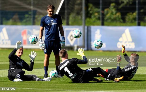 Goalkeeper coach Stefan Waechter looks on during a training session of Hamburger SV at Volksparkstadion on July 9 2017 in Hamburg Germany