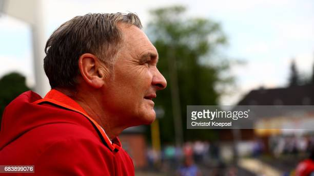 Goalkeeper coach Walter Jungshans of Bayern is seen prior to the U19 German Championship Semi Final second leg match between FC Schalke and FC Bayern...