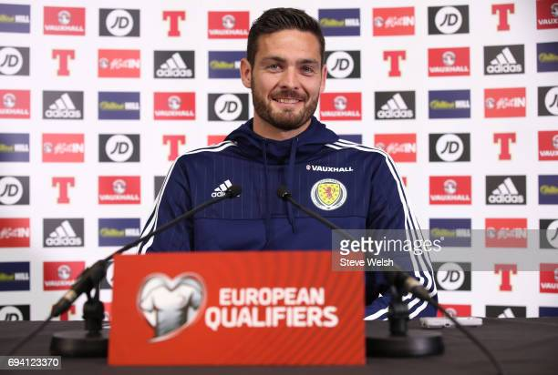 Goalkeeper Craig Gordon of Scotland speaks to the media during the Scotland Press Conference at Hampden Park on June 9 2017 in Glasgow Scotland