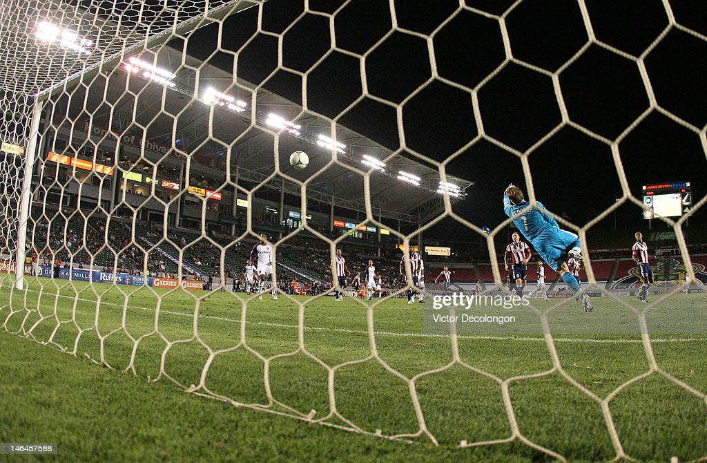 Goalkeeper Dan Kennedy of Chivas USA can't make the save on a shot for a goal by Will Johnson of Real Salt Lake in the 90th minute during the MLS...