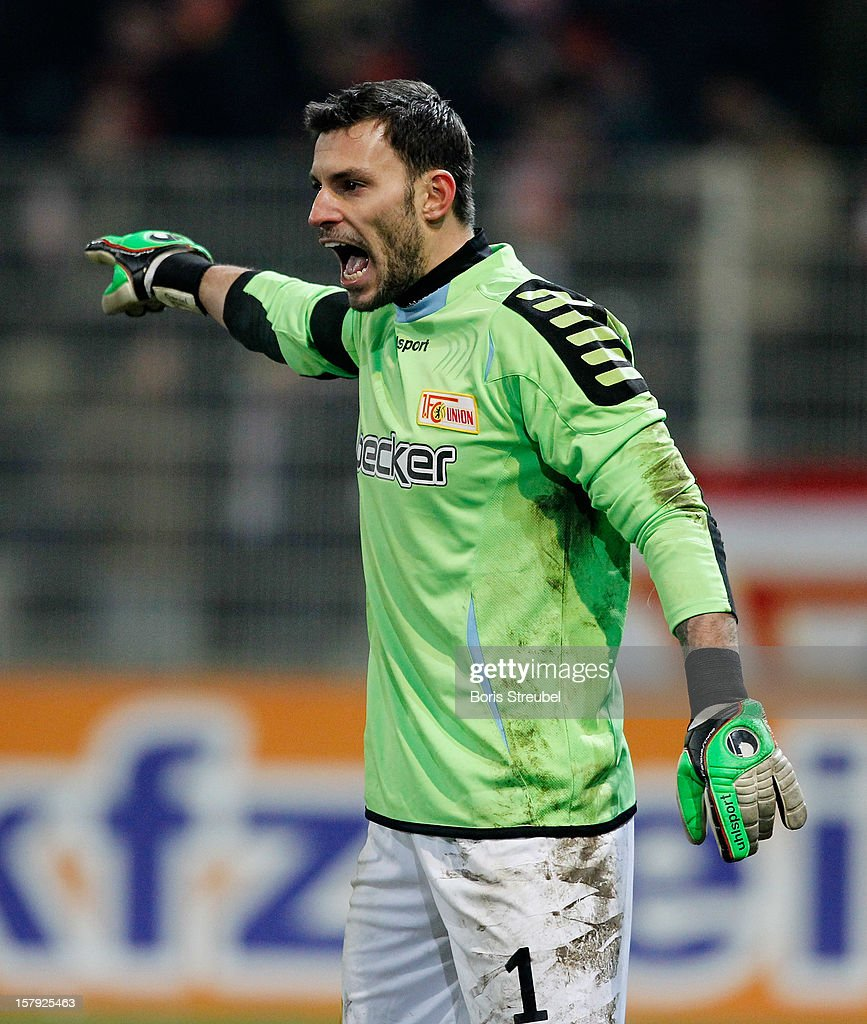 Goalkeeper <a gi-track='captionPersonalityLinkClicked' href=/galleries/search?phrase=Daniel+Haas&family=editorial&specificpeople=4279821 ng-click='$event.stopPropagation()'>Daniel Haas</a> of Berlin gestures during the Second Bundesliga match between 1. FC Union Berlin and 1. FC Kaiserslautern at Stadion An der Alten Foersterei on December 7, 2012 in Berlin, Germany.