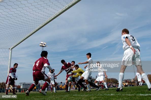 Goalkeeper Daniel Hansen of Franklin Pierce makes a save in front of the net during the Men's Division II Soccer Championship held on the Campus of...