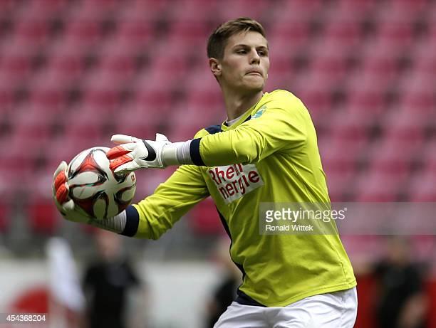 Goalkeeper Daniel Mesenhoeler of Koeln reacts for the ball during the Regionalliga West match between 1 FC Koeln and Alemannia Aachen at...