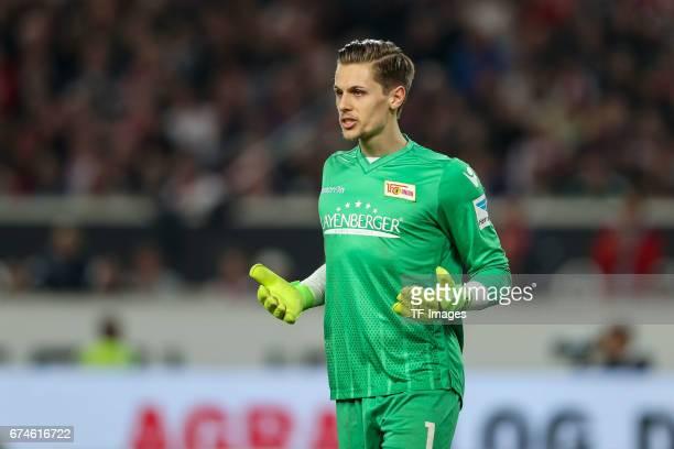 Goalkeeper Daniel Mesenhoeler of Union Berlin gestures during the Second Bundesliga match between VfB Stuttgart and 1 FC Union Berlin at MercedesBenz...