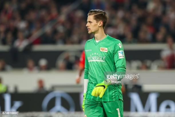 Goalkeeper Daniel Mesenhoeler of Union Berlin looks on during the Second Bundesliga match between VfB Stuttgart and 1 FC Union Berlin at MercedesBenz...
