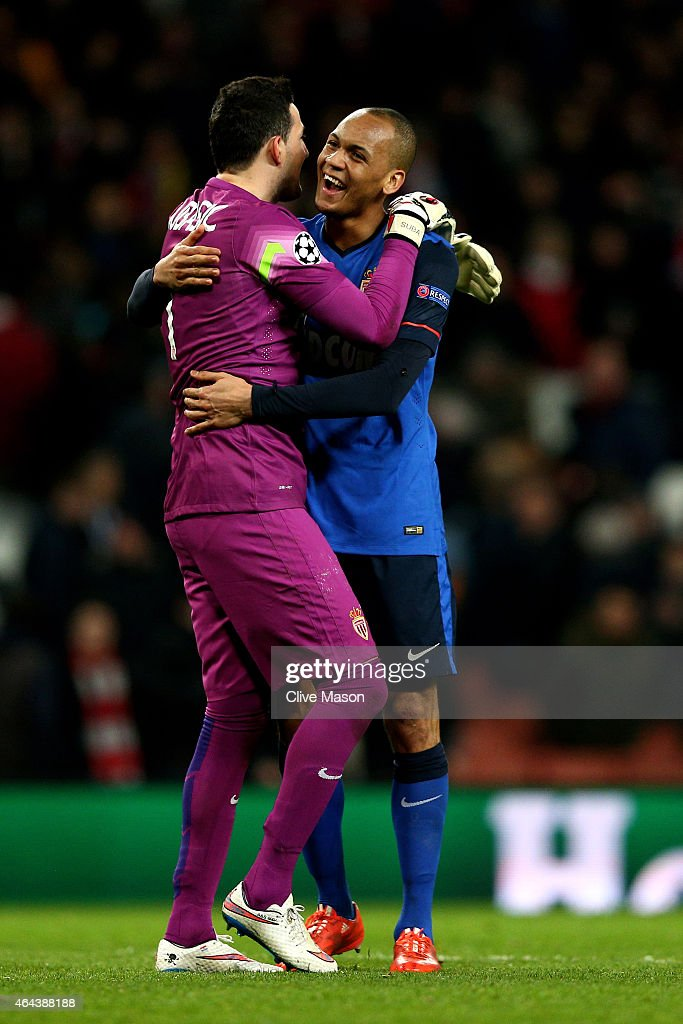Goalkeeper Danijel Subasic of Monaco and Fabinho of Monaco celebrate following their team's 3-1 victory during the UEFA Champions League round of 16, first leg match between Arsenal and Monaco at The Emirates Stadium on February 25, 2015 in London, United Kingdom.