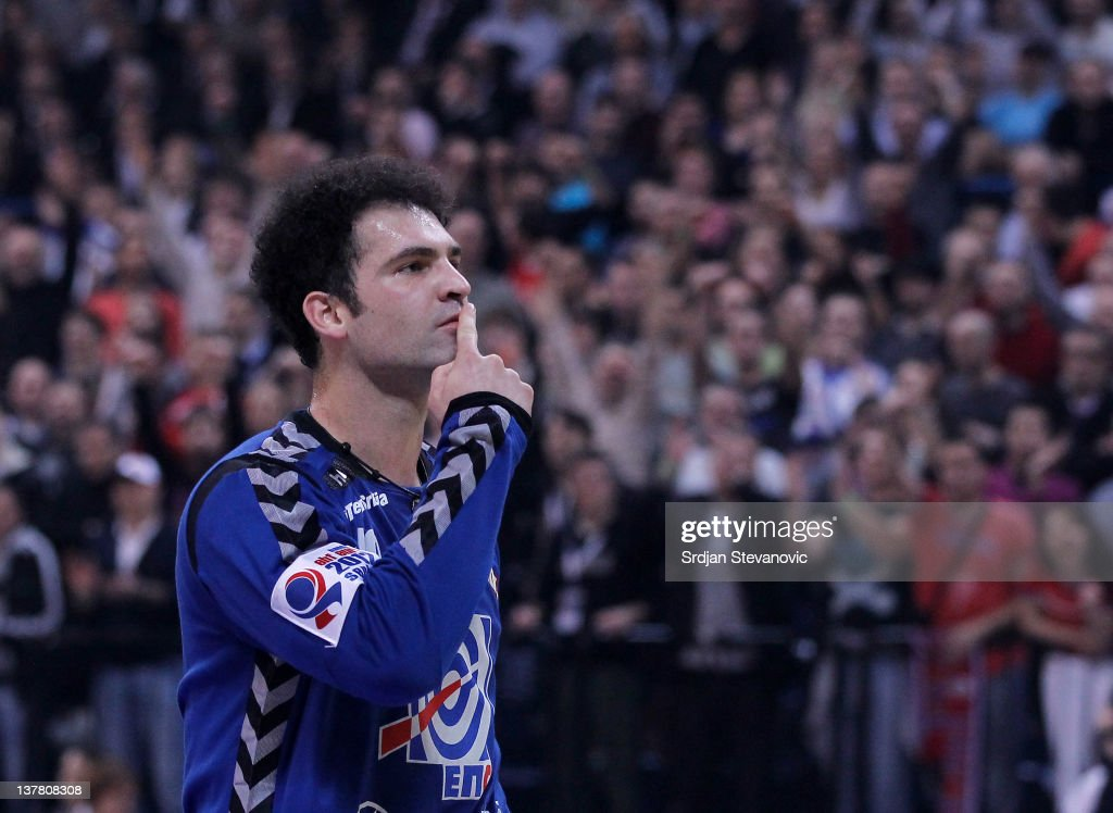 Goalkeeper Darko Stanic of Serbia reacts during the Men's European Handball Championship 2012 semifinal match between Serbia and Croatia at Arena Hall on January 27, 2012 in Belgrade, Serbia.