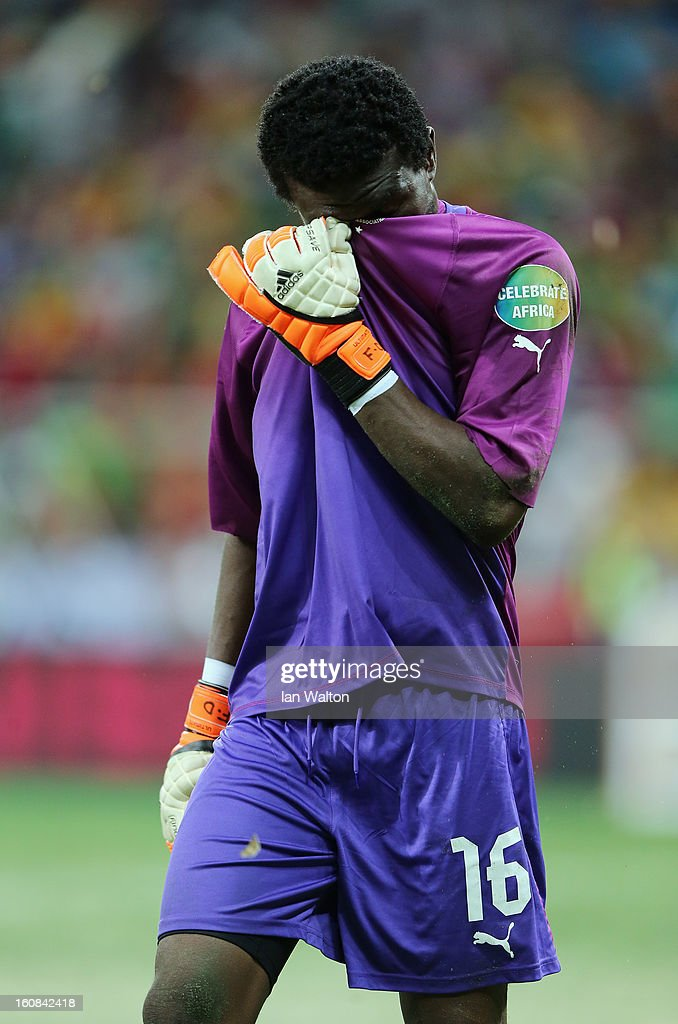 Goalkeeper Dauda Abul Fatawu of Ghana reacts during the 2013 Africa Cup of Nations Semi-Final match between Burkina Faso and Ghana at the Mbombela Stadium on February 6, 2013 in Nelspruit, South Africa.