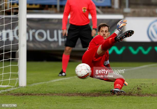 Goalkeeper David Banai of Ujpest FC cannot save the penalty shot from Sandor Torghelle of MTK Budapest during the Hungarian OTP Bank Liga match...