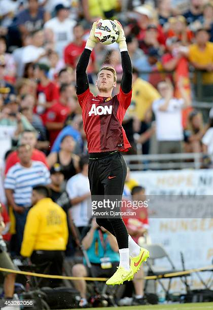 Goalkeeper David De Gea of Manchester United during warms up before the preseason friendly match between Los Angeles Galaxy and Manchester United at...