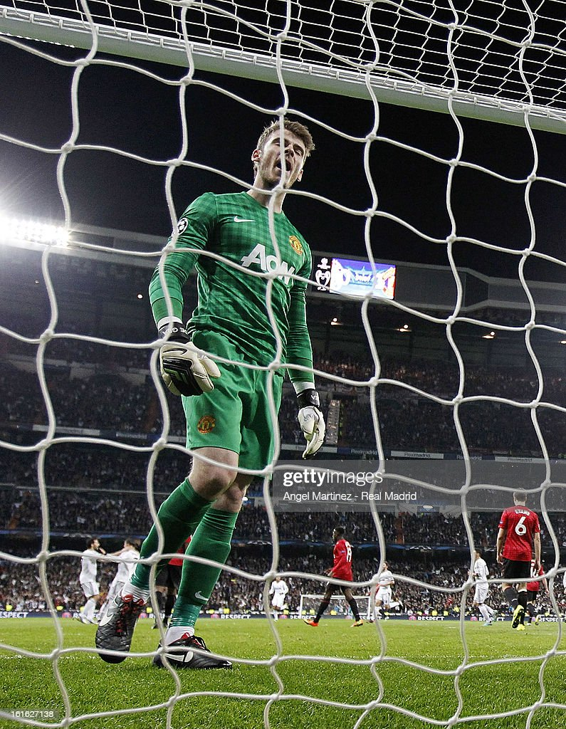 Goalkeeper David de Gea of Manchester United reacts after conceding a goal during the UEFA Champions League Round of 16 first leg match between Real Madrid and Manchester United at Estadio Santiago Bernabeu on February 13, 2013 in Madrid, Spain.
