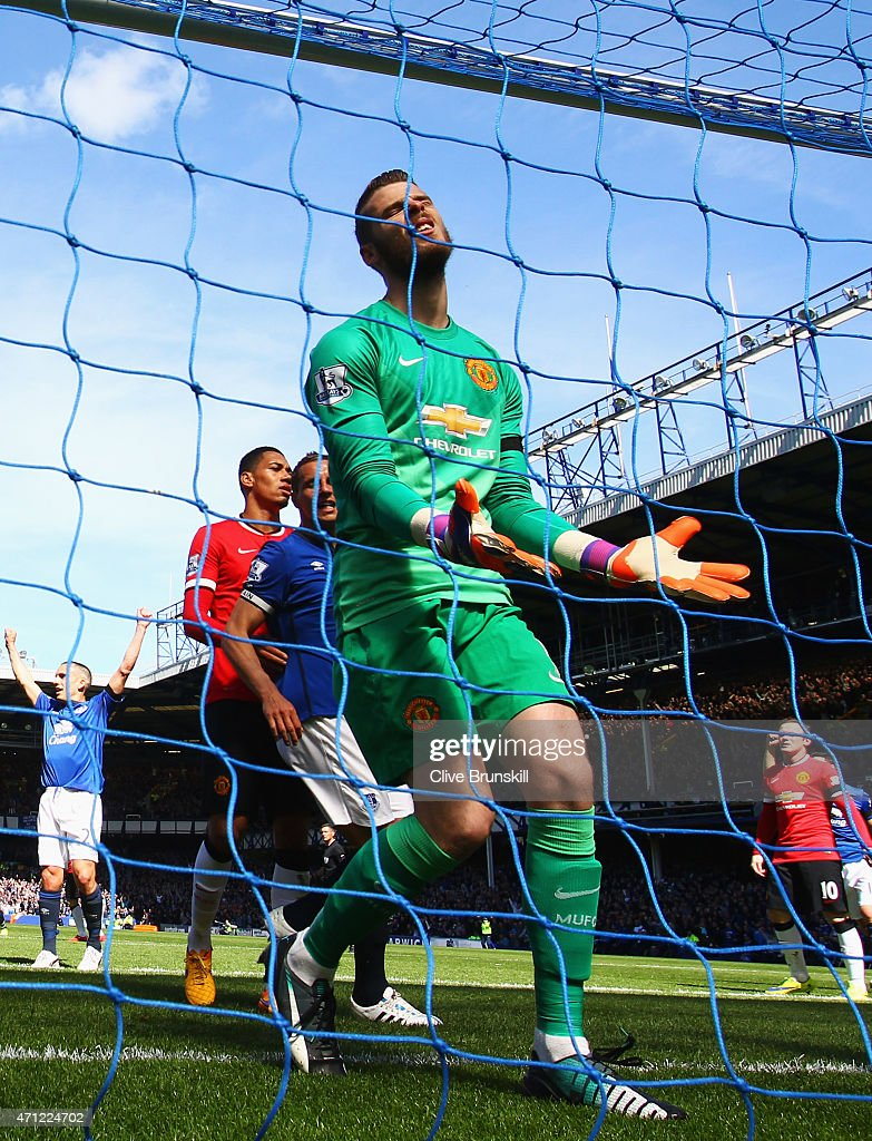 Goalkeeper David De Gea of Manchester United reacts as John Stones of Everton (not pictured) scores their second goal with a header during the Barclays Premier League match between Everton and Manchester United at Goodison Park on April 26, 2015 in Liverpool, England.