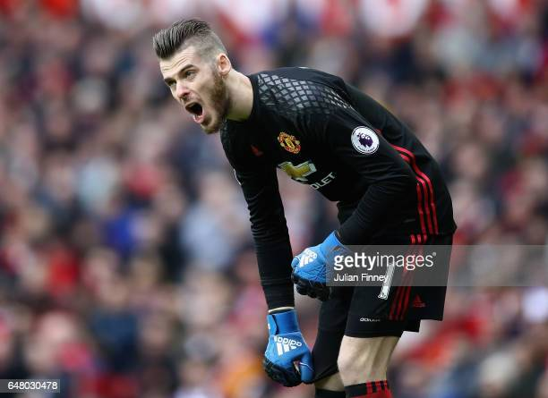 Goalkeeper David de Gea of Manchester United shouts instructions during the Premier League match between Manchester United and AFC Bournemouth at Old...