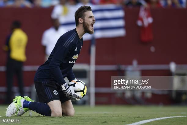 Goalkeeper David de Gea of Manchester United yells during their International Champions Cup football match against Barcelona on July 26 2017 at the...