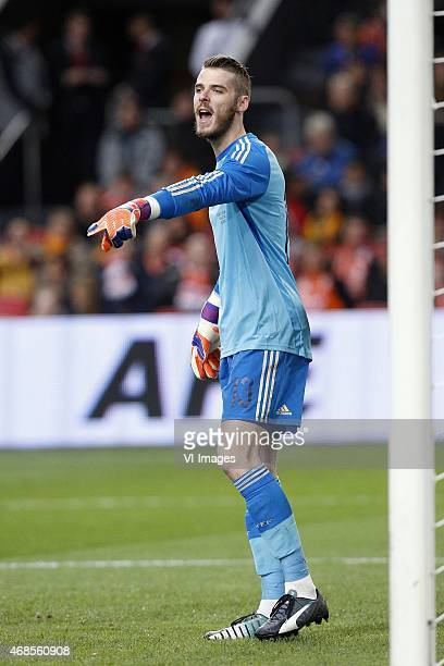 Goalkeeper David de Gea of Spain during the International friendly match between Netherlands and Spain on March 31 2015 at the Amsterdam Arena in...