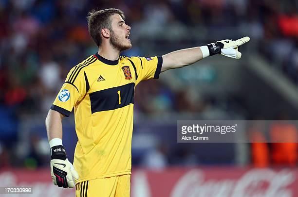 Goalkeeper David de Gea of Spain gestures during the UEFA European U21 Championship Group B match between Germany and Spain at Netanya Stadium on...