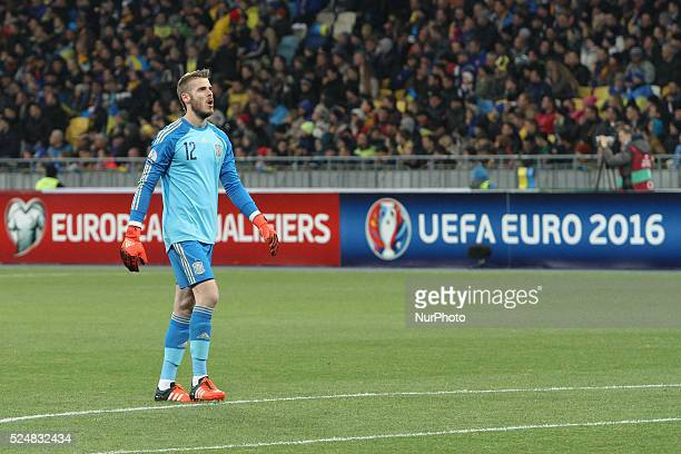 Goalkeeper David de Gea of Spain reacts on Andriy Pyatov's save after Cesc F��bregas of Spain despatches the spotkick during the European Qualifiers...