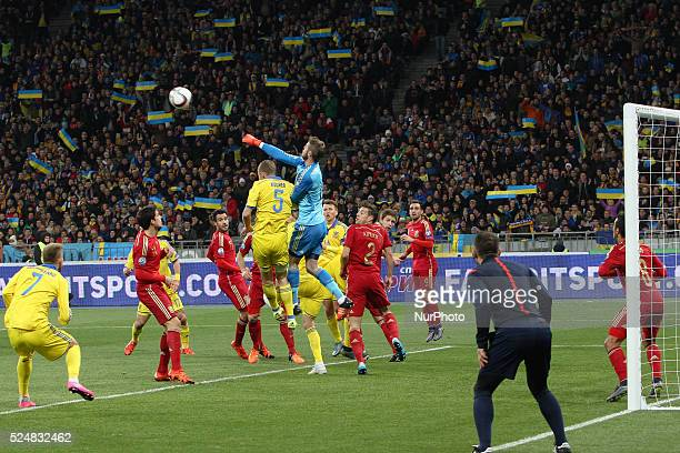 Goalkeeper David de Gea of Spain saves the gate during the European Qualifiers 2016 match between Ukraine and Spain national teams at NSK Olimpiyskyi...