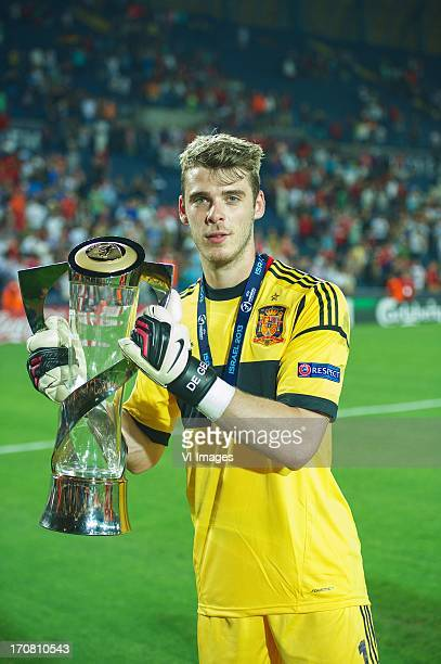 goalkeeper David de Gea of Spain U21 with cup during the UEFA Euro U21 final match between Italy U21 and Spain U21 on June 18 2013 at the Teddy...