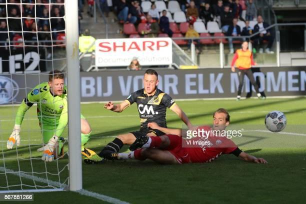 goalkeeper David Jensen of FC Utrecht Giovanni Korte of NAC Breda Willem Janssen of FC Utrecht during the Dutch Eredivisie match between FC Utrecht...