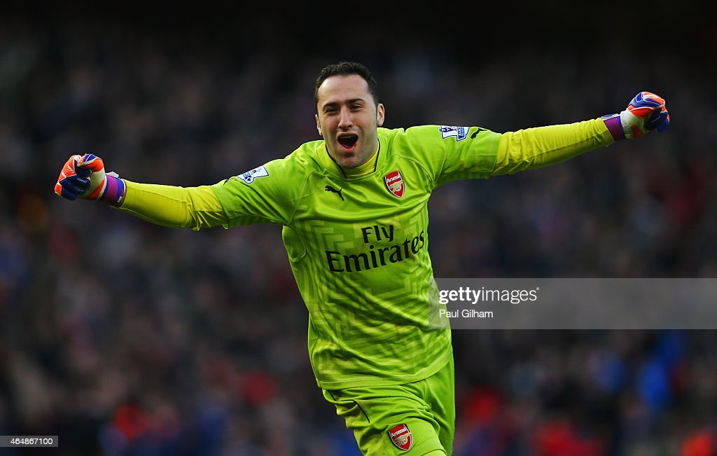 Goalkeeper <a gi-track='captionPersonalityLinkClicked' href=/galleries/search?phrase=David+Ospina&family=editorial&specificpeople=4104267 ng-click='$event.stopPropagation()'>David Ospina</a> of Arsenal celebrates during the Barclays Premier League match between Arsenal and Everton at Emirates Stadium on March 1, 2015 in London, England.
