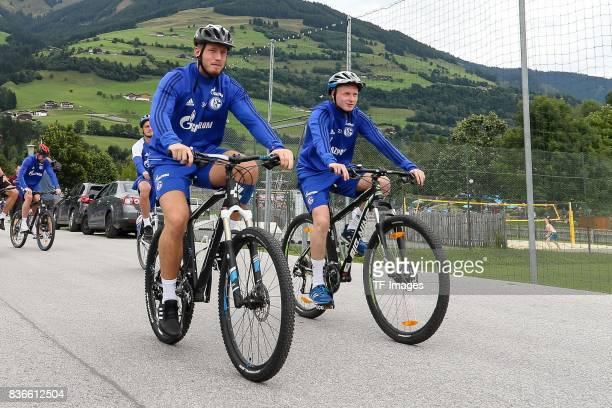 Goalkeeper Denis Wieszolek of Schalke Luke Hemmerich of Schalke controls the ball during the Training Camp of FC Schalke 04 on July 29 2017 in...