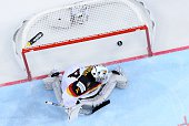 Goalkeeper Dennis Endras of Germany looks on as the puck passes him into the net as forward Taylor Hall of Canada scores during the group A...