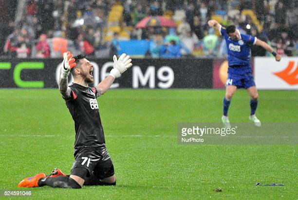 Goalkeeper Denys Boyko Dnepr rejoices victory of his team went out in the final of the Europa League at the time of the return match of the Europa...
