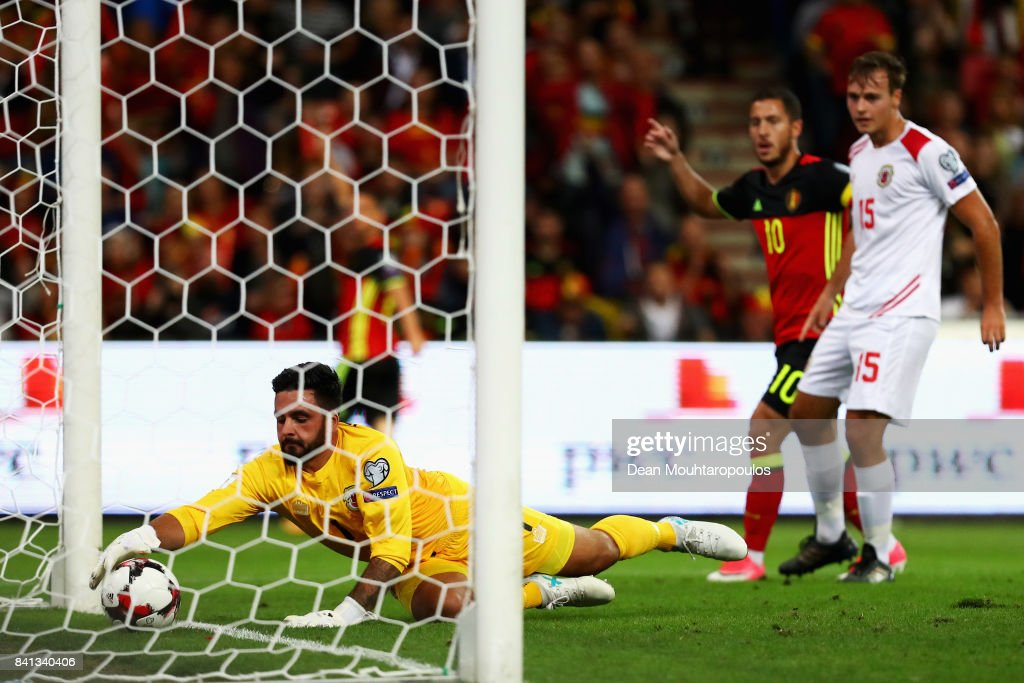 Goalkeeper, Deren Ibrahim of Gibraltar watches the shot from Dries Mertens of Belgium go in for a goal during the FIFA 2018 World Cup Qualifier between Belgium and Gibraltar at Stade Maurice Dufrasne on August 31, 2017 in Liege, Belgium.